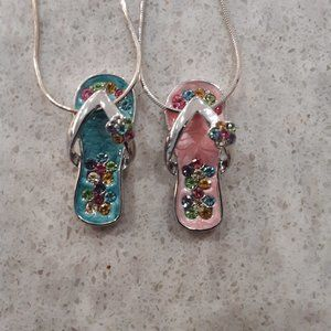 Flip Flop Charm Necklace Pair Pink Blue 16""